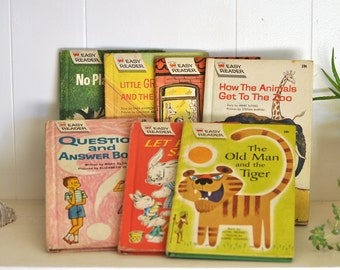 1960's Childrens Books Set of 7 Wonder Books Easy Reader Mid Century Texts Retro Pictures Drawings Illustrations Kids Childs Girl Boy