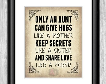 "Gifts for Aunt - ""Only An Aunt Can Give Hugs..."" Digital Wall Art- Wall Decor Aunt Birthday Gift- Gift Ideas for Aunts"