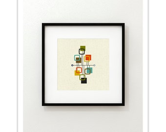 VIEW Square Version - Giclee Print - Mid Century Modern Danish Modern Minimalist Cubist Modernist Abstract Eames