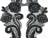 Pair of Large Black Iris AB Beaded and Sequined Flower Appliques 8.5 x 3.25 inches for Costume or Bridal Trim