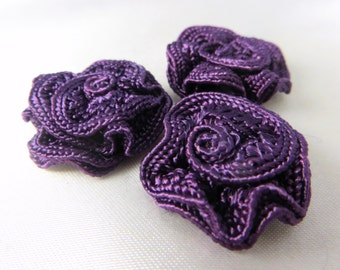3 Purple Small Ribbon Roses
