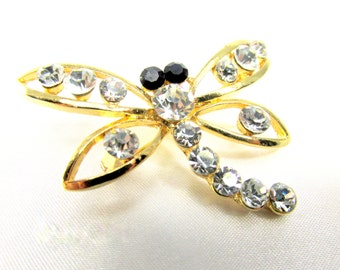 Dragonfly Brooch in Gold, Crystal and Black 2 inches for brooch bouquet or jewelry decoration