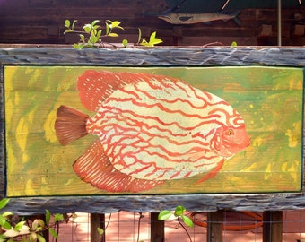 """Tropical Fish original painting 43"""" tangerine greens oranges gray wooden wall art  rustic frame on reclaimed wood shabby chic beach art"""