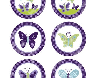 """Printable """"Beautiful Butterfly/Butterflies"""" 3 inch Circles/Cupcake toppers/Stickers/Tags Instant Digital Download"""