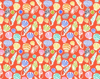 Maude Asbury Fabric, Seashell Fabric, Beachcomber in Coral, Blend Fabrics, Sunsational, One Yard