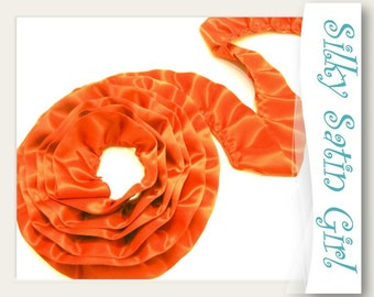 "Ruffle Craft Supply - Orange Ruffles Handmade from Satin Blanket Binding - pleated ruffle trim, shired double sided, 2"" wide - by the yard"