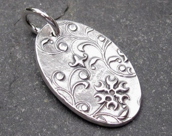 Silver Charm,  Fine Silver PMC Necklace Pendant  with Sterling Silver Jump Ring