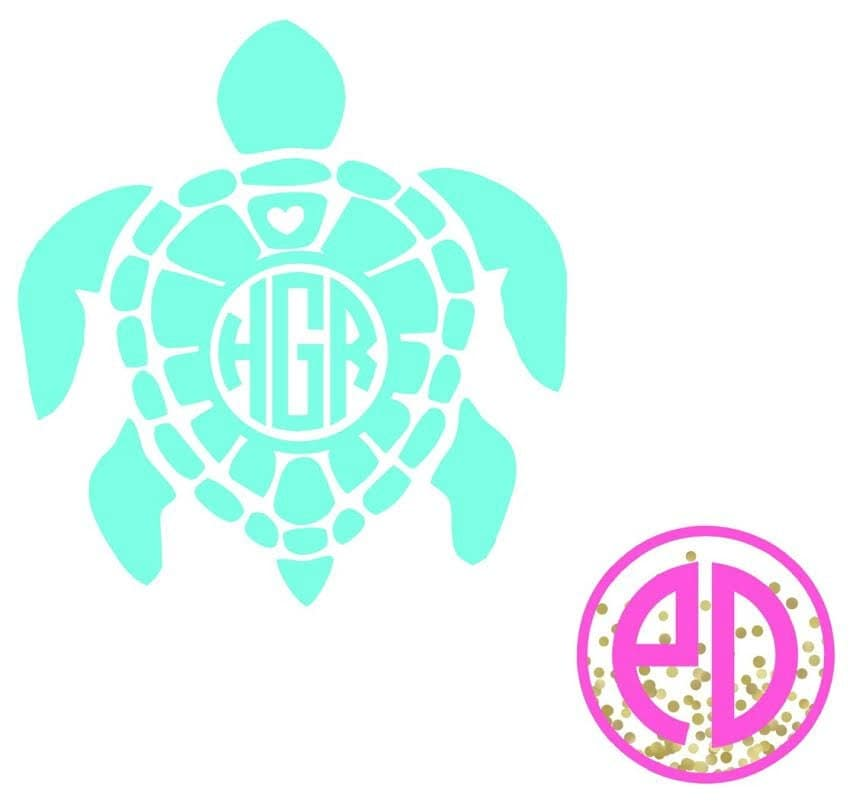 Download Turtle Monogram Decal Monogrammed Turtle Decal by ...