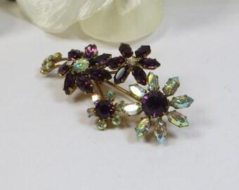 Vintage Amethyst Rhinestone Crystal Flower Spray Brooch Pin, 1960's Rhinestone Brooch Pin, Flower Brooch Pin, Sparkling Amethyst Pin Brooch