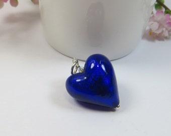Cobalt Blue Venetian Murano Glass Heart Pendant, Murano Venetian Cobalt Blue Heart w White Goldfoil Inside w Swarovski & 925 Sterling Silver