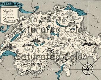 Switzerland Map ORIGINAL 1932 Vintage Picture Map Geography - Pictorial Fun Charming Antique Paul Spener Johst Whimsical Zurich Geneva