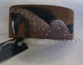 Horse hand painted on leather bracelet