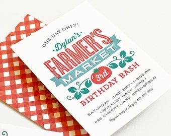 Farmers Market Birthday Party Invitation, Boy or Girl Picnic Invite // FARMERS MARKET