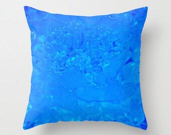 Glass Sculpted Flower Pillow Cover Cobalt Blue FREE SHIPPING