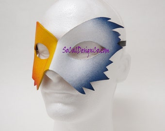 Mens Masquerade Mask - Blue - Leather Mask - Halloween Mask - Masquerade Mask - Leather Masks – Venetian Mask – White Leather Mask