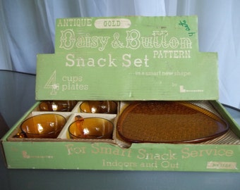 Daisy & Button Snack Set, Indiana Glass, Vintage Serving Set, Antique Gold Color, Original Box Packaging, Complete Set Plates and Cups