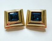 Monet Clip On Earrings Sapphire Blue Glass Gold Plated Square Vintage