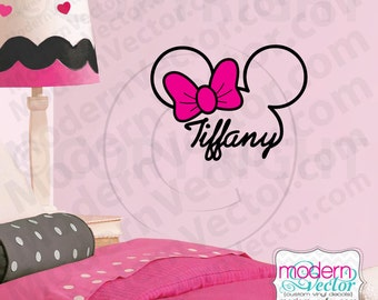 PERSONALIZED Minnie Mouse Signature Name with Bow Vinyl Wall Decal Nursery Disney