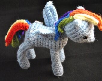 My Little Pony Rainbow Dash Inspired Doll - Crochet Amigurumi Handmade