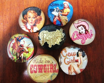 COWGIRL COUNTRY Glass Magnets Set of 7