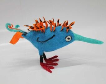 Spikes, felt bird sculpture