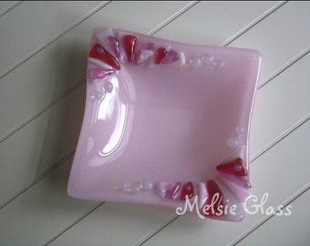 Pink Frills glass anything dish - pale pink glass with frilly edge, ring dish