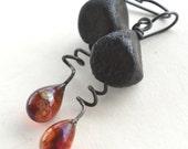 Crusty Black Glass Nuggets and Topaz Glass Teardrop Earrings
