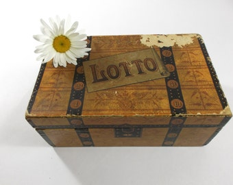 Board Game 1880s Lotto Game and Game Pieces Vintage Board Game