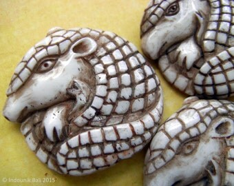Armadillo Carved Bone Brown Textured Bead 30mm