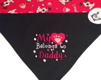 Dog Reversible Bandana, My Heart Belongs to Daddy,X-Large,