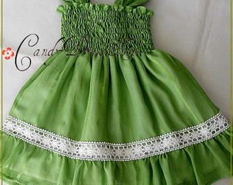 Lime green dress for girls, Organic cotton and silk dress, Green Flower girl dress,  Birthday dress, Baby green dress, Soft green dress