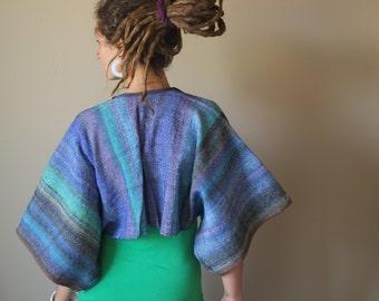 Noro Handwoven Crop Kimono - Wearable Art Bolero - Undulating Sea Waves
