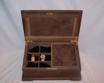 Fancy Walnut Watch Box with lock or Men Jewelry Box Tea box.