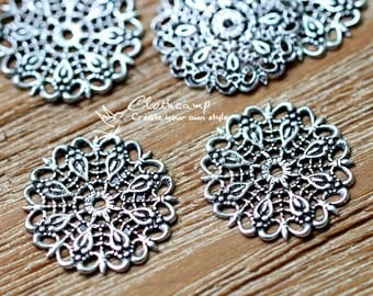 Antiqued Silver  plated RAW brass Filigree  Jewelry Connectors Setting Cab Base Connector Finding  (FILIG-AS-24)