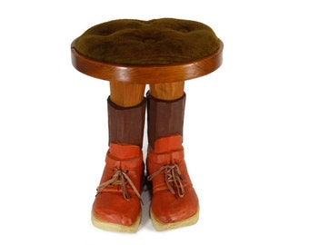 Foot Stool OR Feet Stool - Vintage Folk Art - Wood Carving - Foot Rest