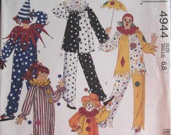 Pattern - Adults, Boys, and Girls Clown Costumes 4944 Size 6,8 - by McCalls