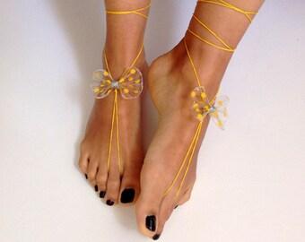 Barefoot Sandals, yellow, wedding , Bikini , Women , Beach , Bridal Sandals , Bridal Jewelry ,shoes