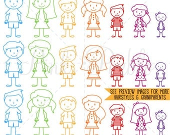 Stick Figures Photoshop Brushes, Stick Family Brushes - Commercial and Personal Use