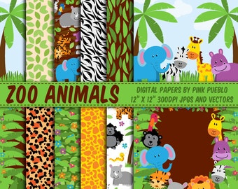 Zoo Animal Digital Paper, Zoo Animal Scrapbook Paper, Safari Animal Scrapbook Paper, Safari Animal Digital Paper - Commercial Use