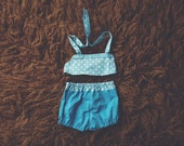 Cake Smash Outfit One Year Old Girl Bikini Cake Smash Set Turquoise Polkadots