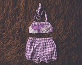 Cake Smash Outfit One Year Old Girl Bikini Cake Smash Set Purple Flower Gingham