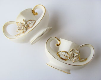 Vintage Candle Holders Aladdin's Magic Genie Lamp Set of Two Marked 687 White With Gold Accents And Roses Wedding Decoration Alaskan Rose