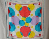 Vintage Silk Scarf Albert Nippon Scarf 1970s White Damask Silk with Large Overlapping Circles in Turquoise Red Yellow Purple Hand Rolled