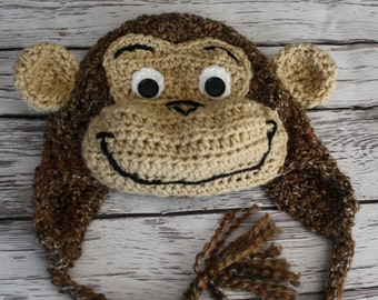 Monkey Hat - Baby Monkey Hat - Baby Hat - Newborn to Toddler Monkey Hats - Monkey Costume Hat - Baby Hats - by JoJosBootique