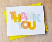 Thank You Card   Modern Typographic Greeting Card   Bright Pastel Thanks