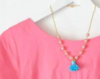 Bluch Pink and Turquoise - Pastel Tassel Necklace -  Choose your Color - Free Shipping - Gift Box