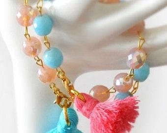 Bohemian Tassel Bracelets - Tassel Boho Bracelets - Boho Charm Bracelets - Tassel Bohemian Bracelets - Set of 2 - Free Shipping - Gift Box