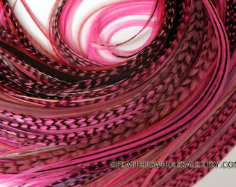 """Magenta Pink Rooster Feathers Bulk 25 Hair Feather Extensions Wholesale Lot 8-11"""""""