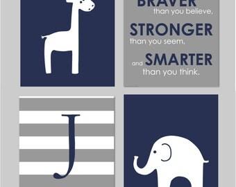 "Elephant Nursery, Giraffe Nursery, Navy and Grey, Baby Boy Nursery, Winnie the Pooh, You are Braver Than You Believe, Set of four 8""x10""s"