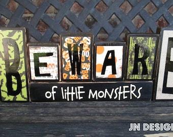 Summer SALE--Halloween wood blocks- Beware- of little monsters